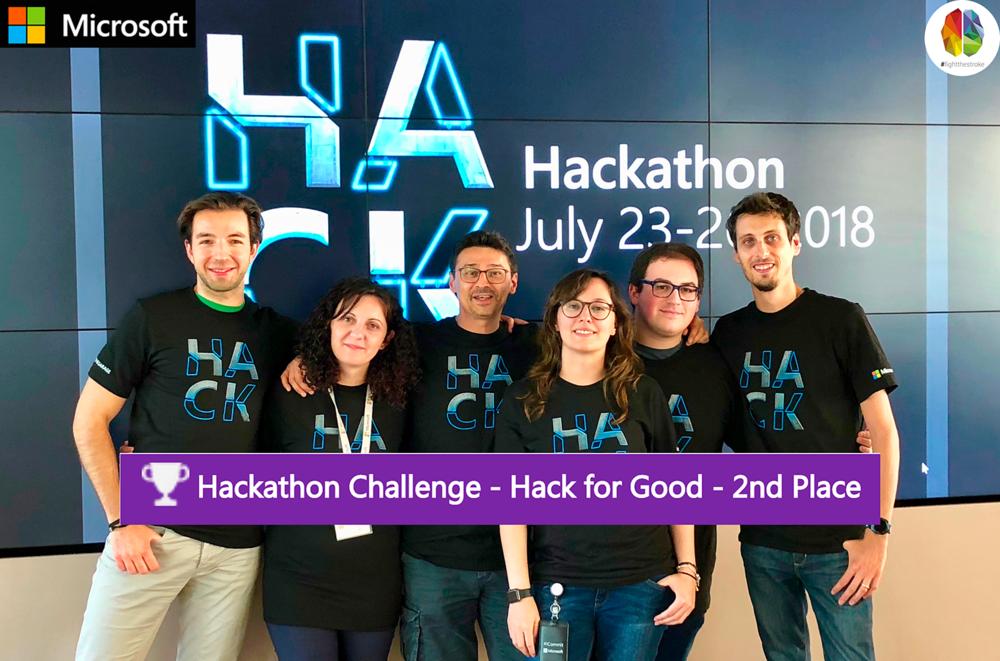 Il Team Microsoft che ha partecipato all'Hackathon2018 (da sinistra): Alessandro Bigi, Veziona Ekonomi, Roberto D'Angelo (FightTheStroke co-founder), Jessica Tibaldi, Daniele Antonio Maggio, Matteo Pagani. Più, non nella foto: Elena Terenzi e Ricardo Wagner.