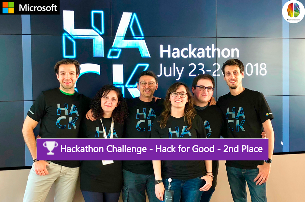 """Microsoft Hackathon 2018 - 2nd Worldwide place on the """"Hack for Good Executive Challenge"""". In the picture the Microsoft Team, from the left: Alessandro Bigi, Veziona Ekonomi, Roberto D'Angelo (FightTheStroke co-founder), Jessica Tibaldi, Antonio Maggio, Matteo Pagani. Plus, not in the picture: Elena Terenzi and Ricardo Wagner."""