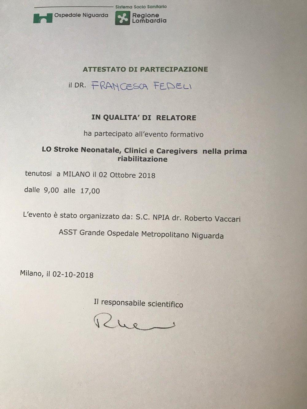 2 Ottobre 2018, convegno sullo stroke neonatale all'Ospedale Niguarda di Milano