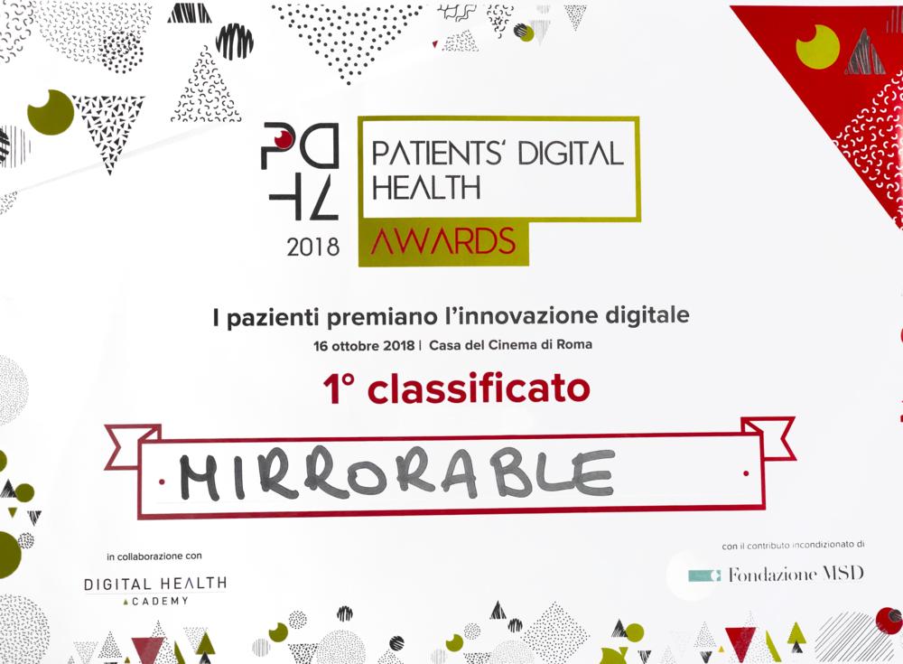 Patient's digital health award - 1° Classificato - 16 Ottobre 2018