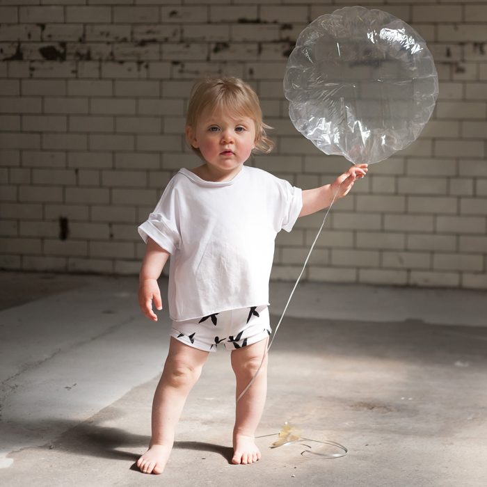 Model: Florence  White Mingo Kids crop top with bird print Baby Legging Co shorties