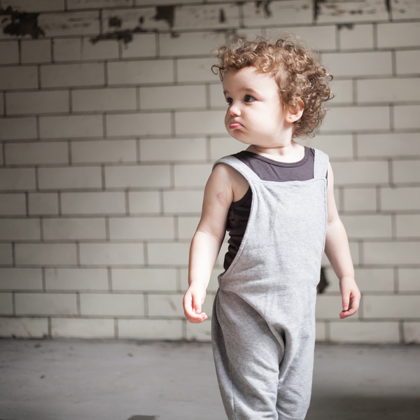Model: Clemence  Gray Label salopettes with Lennon + Wolfe dark grey (shadow) tank top.