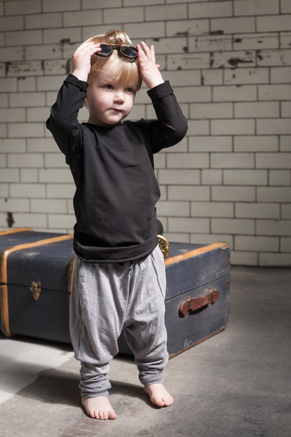 Model: Rowan  Black long sleeved Mingo Kids shirt with Lennon + Wolfe grey Dakota harem pants
