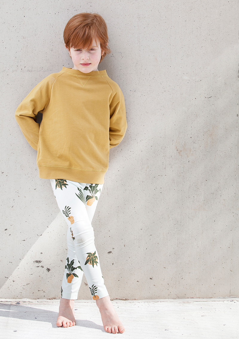 Mustard Sweatshirt with Pots and Plants