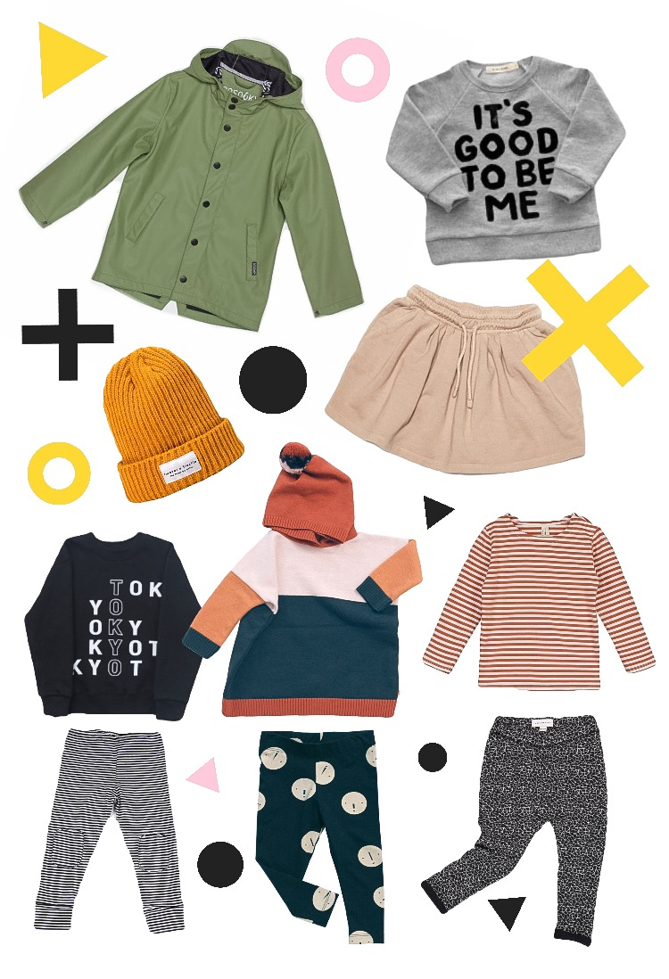 Top Row: GOSOAKY lined raincoat, Kid & Kind Sweatshirt, Forever a Freckle Trawler Hat, Mingo Kids Skirt Outfits from left: Fig + Honey Tokyo Sweatshirt with Mingo Leggings. Tiny Cottons poncho and faces leggings. Gray Label striped top with Jax & Hedley Cracked ice leggings.