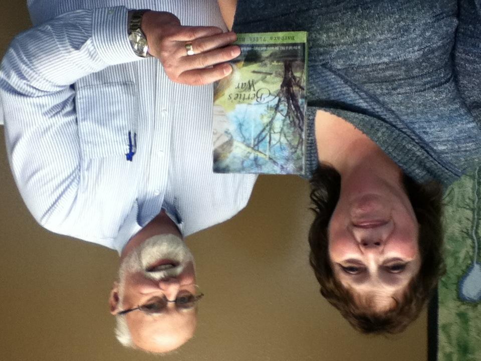 Barbara Blakey and Kyle Pratt with Barbara's book, Bertie's War