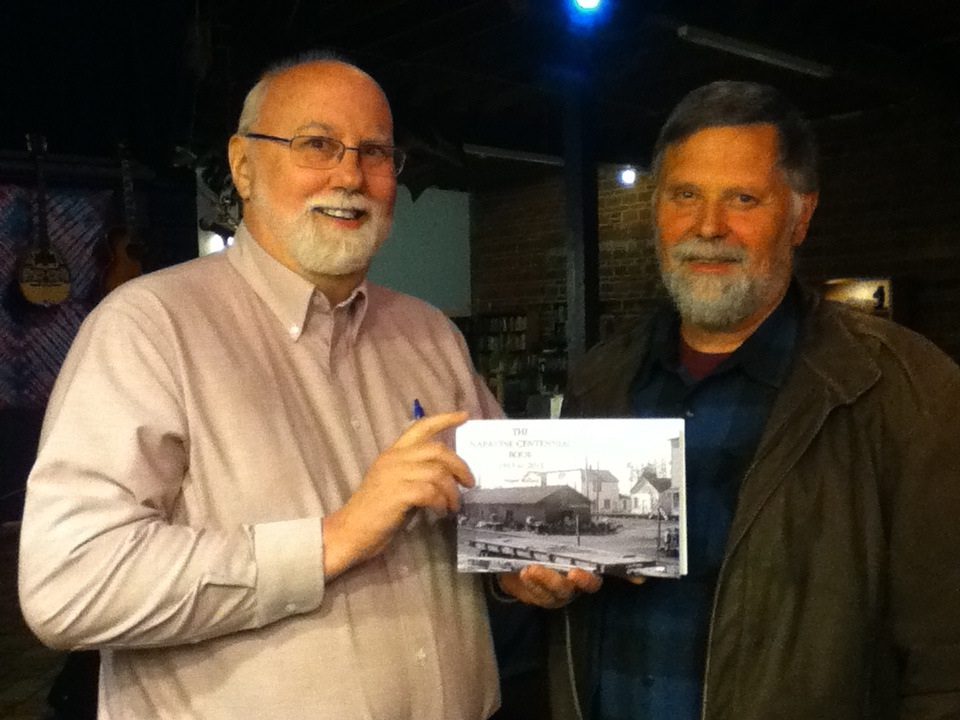 Kyle Pratt and Wayne Wallace with his Napavine Centennial Book