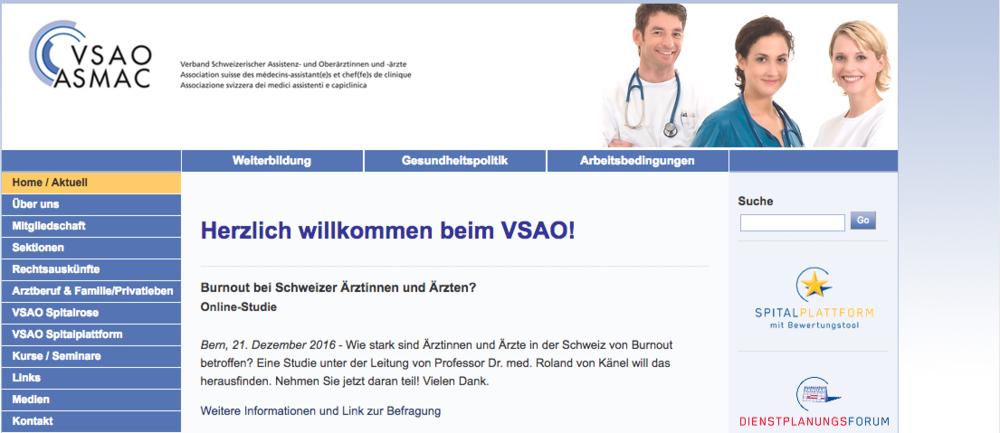 Homepage www2.vsao.ch mit Hinweis auf Burnout-Studie bei Schweizer Ärztinnen und Ärzte