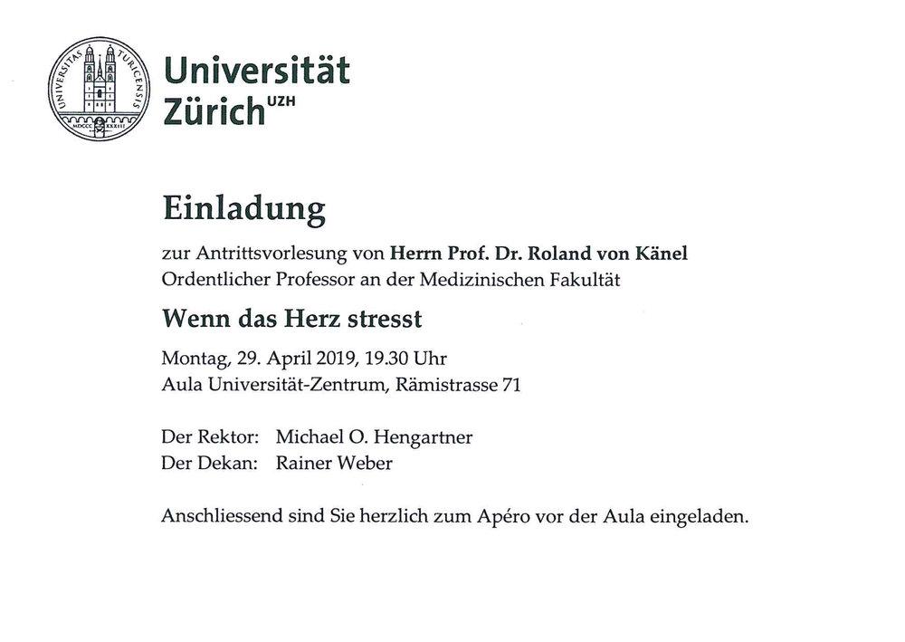 Universität Zürich: Einladung zur Antrittsvorlesung von Prof. Dr. Roland von Känel