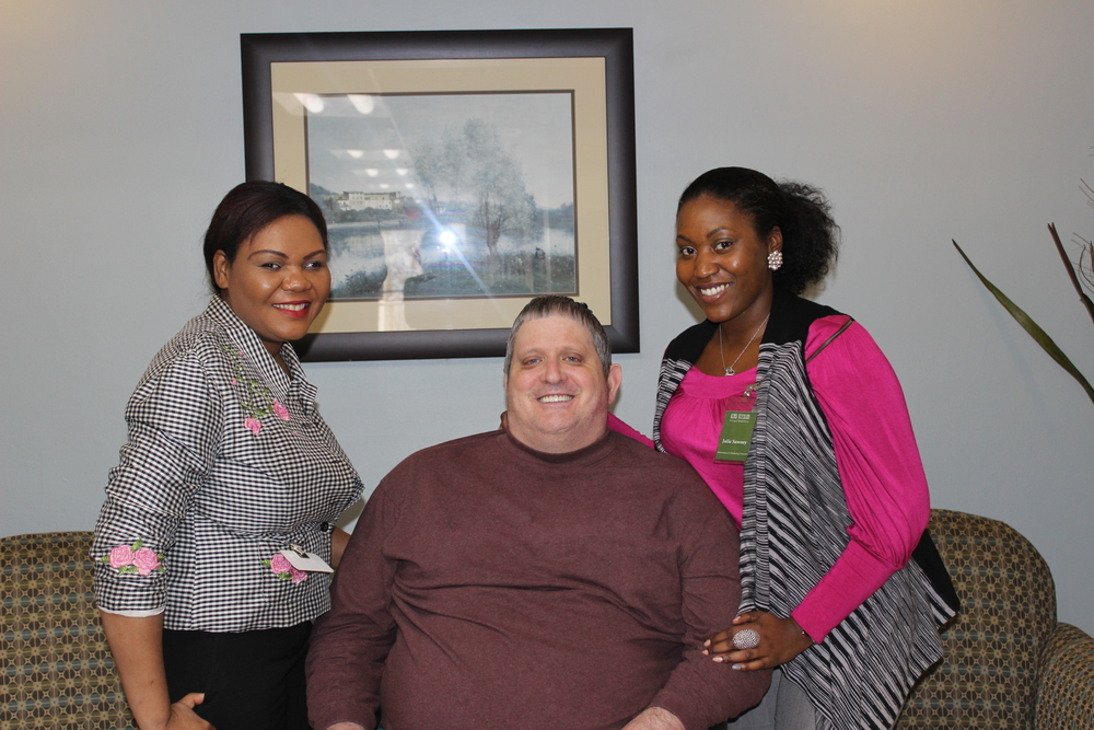 Mr. Ralph with Director of Social Services - Jasmine Lacroix, and Admissions and Marketing Director - Julia Sawney