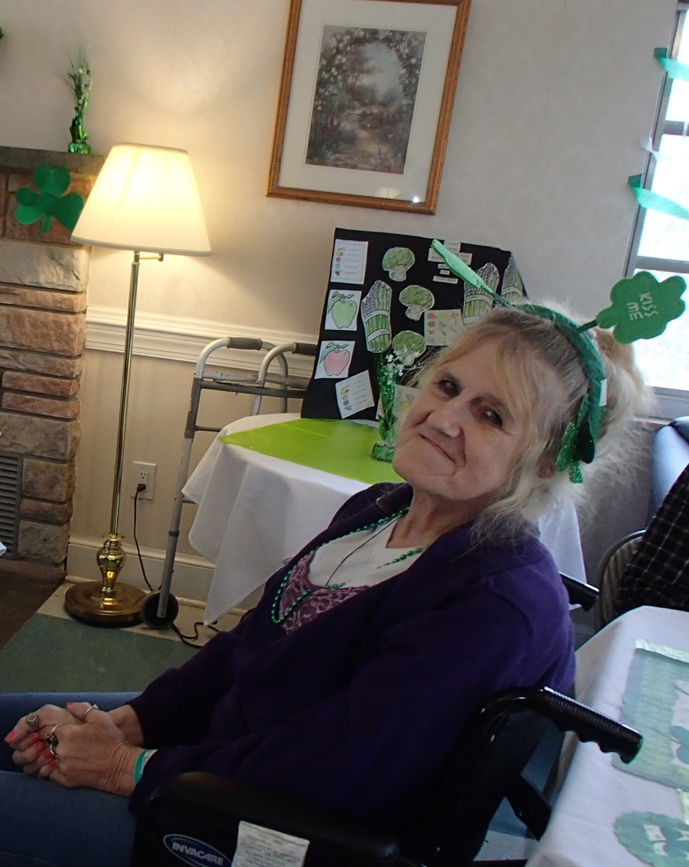 Ms. Robin Stamos is waiting for the St. Patrick's Day events to start!