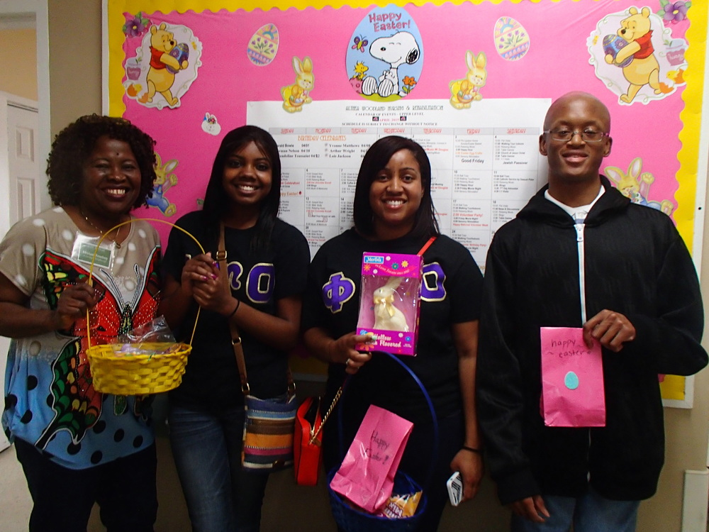 From left: Miriam Freeboy (Activity Assistant), Jasmine Jenkins, Erinn Gales, and Christopher Gaines (members of Phi Upsilon Omicron Family Science Honor Society)