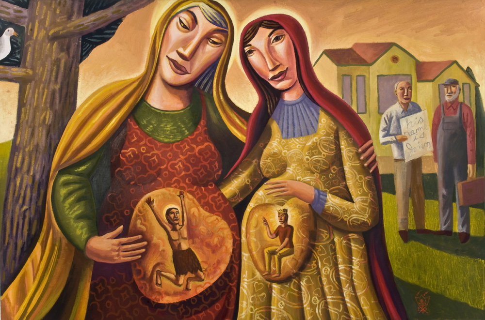 "The Visitation  by James B. Janknegt • oil/canvas • 18""x36"" • 2008"