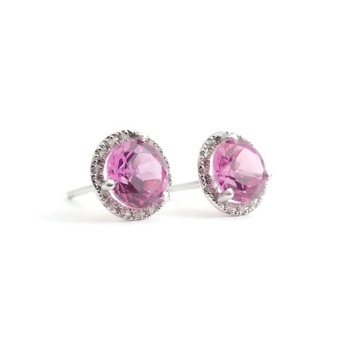 5421b4f8b3190 Pink Topaz Diamond Stud Earrings 2.34 ctw