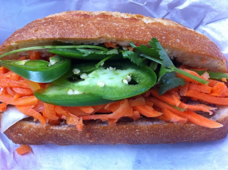 SAIGON: a roast pork banh mi from my favorite spot: Saigon Sandwich on Larkin and Eddy.  You can't beat a $3 sammie with fresh cilantro, sliced jalapenos, and pickled carrots!