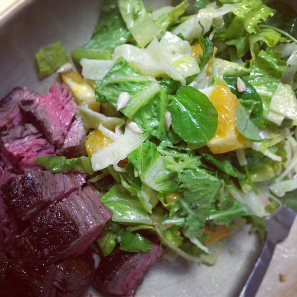 Cutting down on gluten: grilled beef rib cap, romaine, watercress, mizuna, orange, avocado, sunflower seeds, red wine vin #staffmeal #glutenfree #healthyeats #food #salad #soupmama