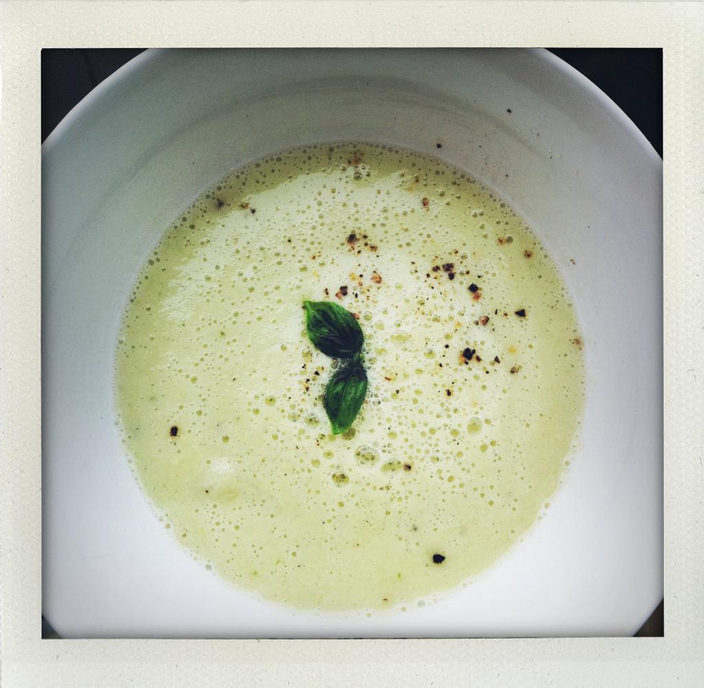 Mi casa: farmer's market sweet white corn-basil soup.