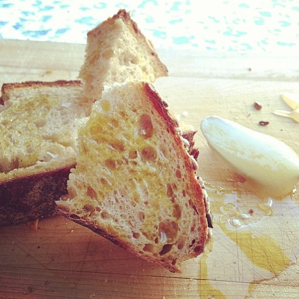 Multiseed country loaf with honey, maldon salt, and evoo. Photographed and enjoyed by @keiterauchi thanks for the love of my bread! #soupmama #wildyeast #sourdough #bread #levain #foodporn  (at Soup Mama Mel's Kitchen)