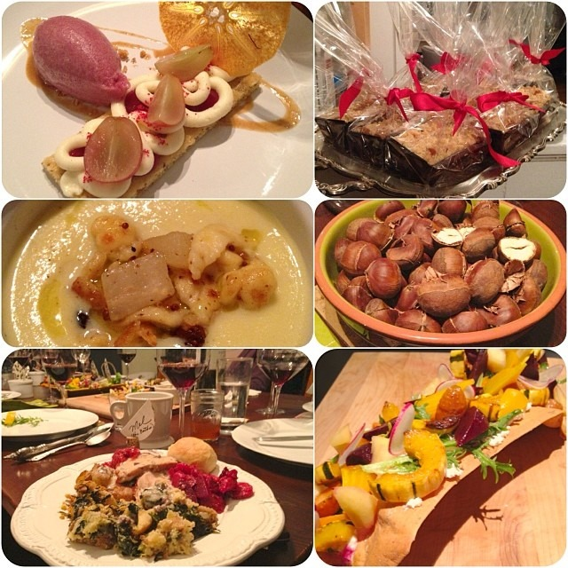 Thanksgiving+10 pro chefs = we fancy! 💁 coffee cake togo bags @evaw18, cabbage soup+pickled currants/pear+spatzle @mrahorst, roasted chestnuts+butter beans+turkey @connverse, flatbread appetizer+pickled apple+root veg+ricotta and fancy dessert w/cream cheese+grapes+cranberry+mulling spiced sorbet @therealmrbrian, roasted beets @mx_emotive #craftmanandwolves #commis #thefrenchlaundry #frances (at Oakland, CA)