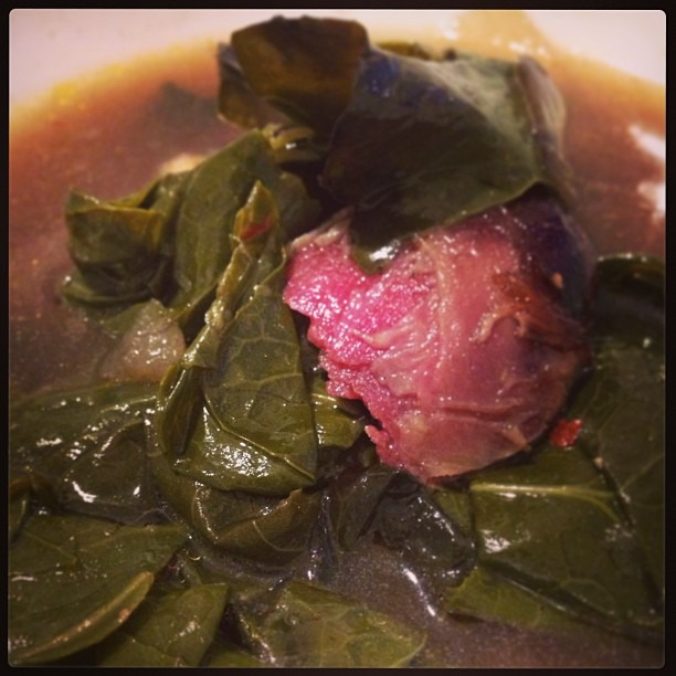 Braised Collard Greens:    Remove stem from collard leaves. Tear up leaves and wash. Saute 2 smashed garlic clove and 1 chopped onion. Add one smoked ham hock (or smoked turkey leg). Then add chicken stock or water to cover. Bring to a boil. Add collard greens, splash of rice/white/cider vinegar, salt/pepper, and chili flakes/tabasco (optional) and cover. Reduce to a simmer. Braise for at least 2 hours+ until the collards are very soft and the broth is rich in flavor. Adjust seasonings.