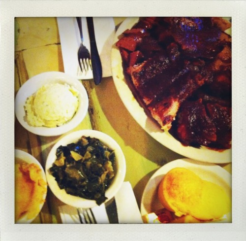 Everett and Jones BBQ, jack london square in Oakland. BBQ chicken, pork ribs, beef brisket, links, cornbread, Mac&cheese, potato salad, baked beans, collard greens for TWO people! Lol