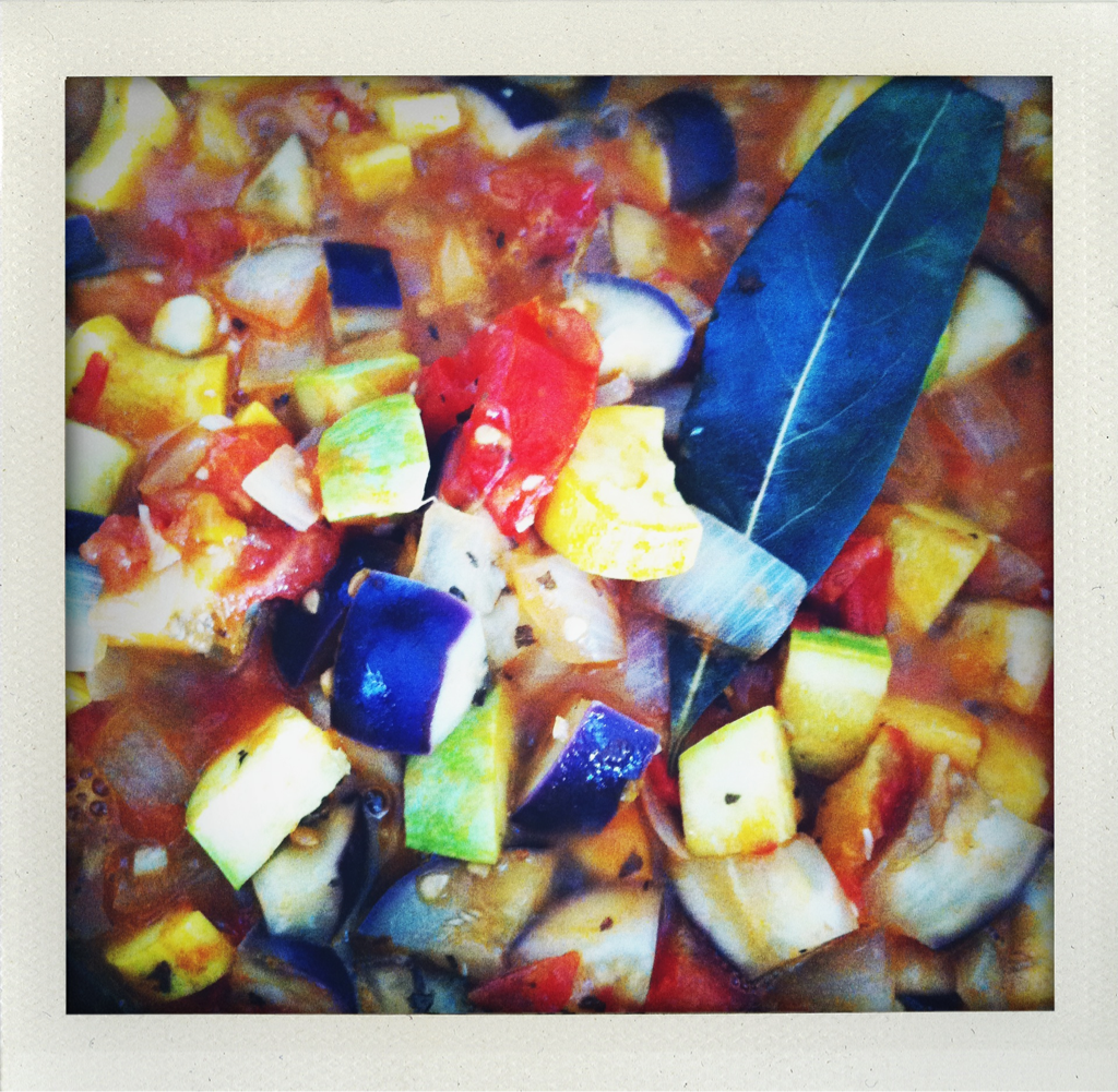 Mi casa: farmers market ratatouille is totally happening: heirloom tomatoes, baby eggplant, zucchini, summer squash, onion, garlic, bay leaf, home-grown basil