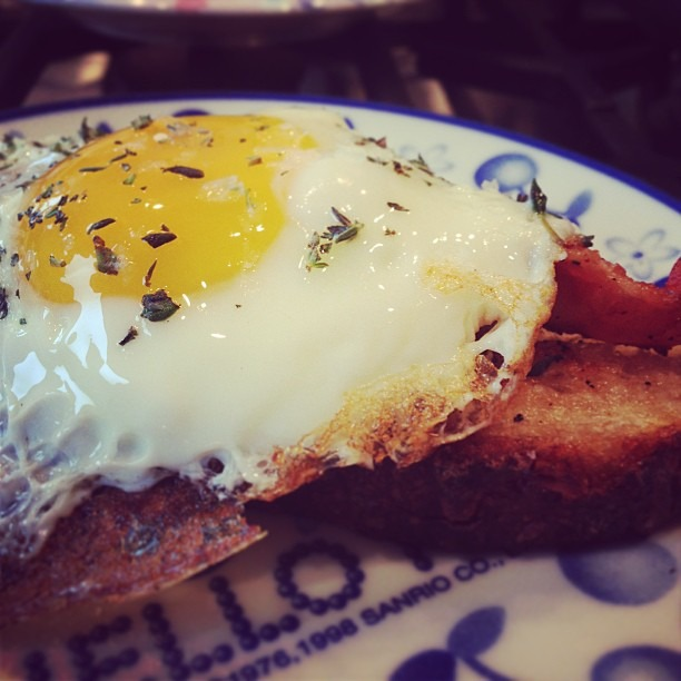 Fried egg, homemade sourdough, applewood bacon, thyme, maldon sea salt