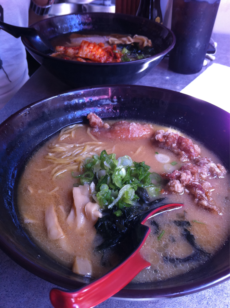 Katana-ya: union square. Not the best ramen but does the trick for a Wednesday morning. Deep fried chicken ramen w/miso soup, kimchi ramen w/soy soup.