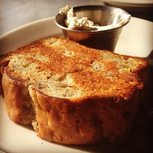 Toasted banana bread at my favorite brunch spot (at Universal Cafe)