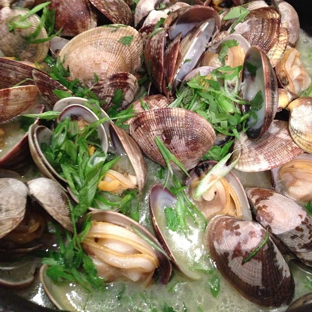 Sake butter steamed Manila clams #soupmama #clams #seafoodboil  (at Soup Mama Mel's Kitchen)