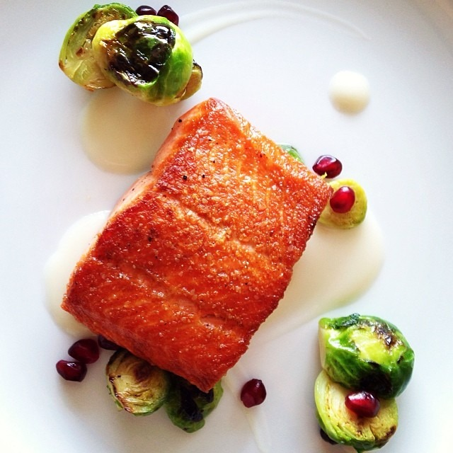 Pan-seared Steelhead Trout, Celery Root, Brussels Sprouts, Pomegranate #winter #glutenfree #soupmama (at Soup Mama Mel's Kitchen)