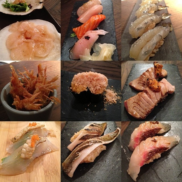 plum snapper, Japanese cod, wagyu w/torches uni, live scallop, freeze dried monk fish liver shavings! @puffalumpagus @thejessicasf @heathersfeatherss (at Akiko's Restaurant & Sushi Bar)