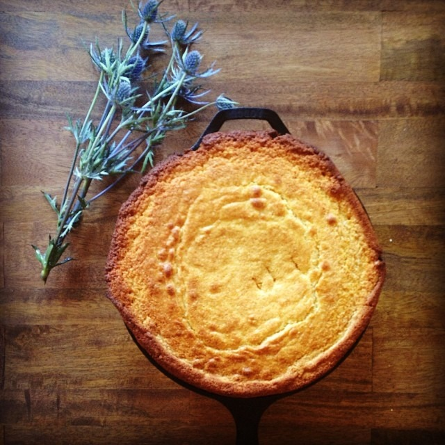 Skillet cornbread #thanksgiving #castiron # (at Soup Mama Mel's Kitchen)