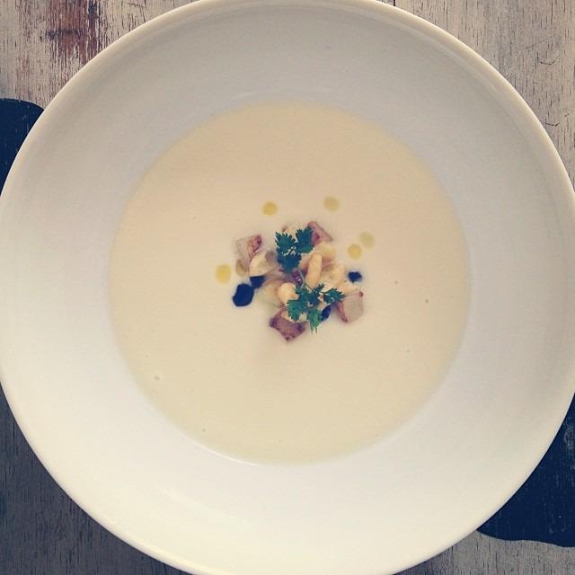 Cabbage Velouté, Caraway Spätzle, Pickled Pear, Currants #soupmama #soup