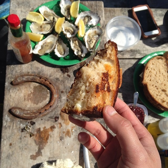 Cast iron Grilled cheeses with @joseybakerbread country loaf and tomales bay oysters  (at Tomales Bay Oyster Company)