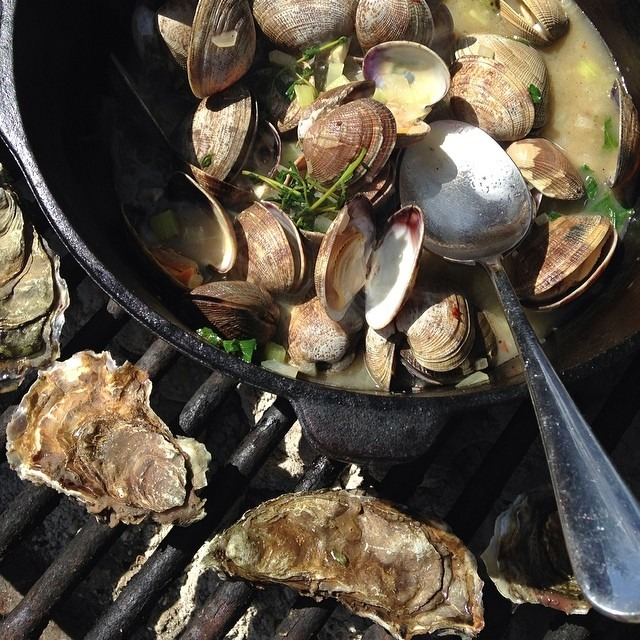 You can do anything with a cast iron Dutch oven and a grill (at Tomales Bay Oyster Company)