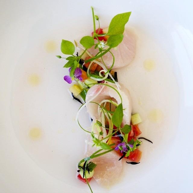 Hamachi - tomato water - celery -cucumber - hijiki - chickweed - lemon oil #food #foodgasm #foodporn #theartofplating #chefsoninstagram