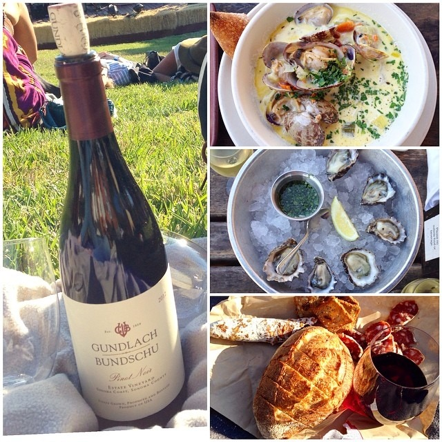 Sonoma fun: Gundlach Bundschu winery for a Real Estate concert, oxbow market, hog island oysters and chowder, Olympian soppressata, model bakery bread @hillarybenzell