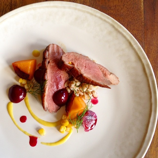 Duck, apricot, cherries, farro, corn #summer #farmersmarket #farmtotable #foodporn #theartofplating