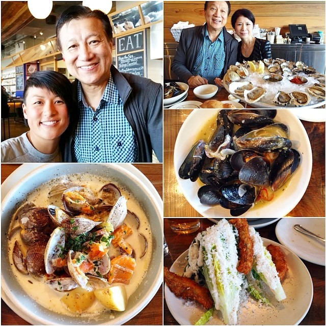 Pops came for a visit, 2 dozen oysters, clams, chowders, mussels, baby gems, and beers later #hogislandoyster (at Hog Island Oyster Co.)