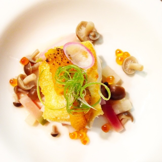 Seared halibut, torched uni, salmon roe, radish trio, mushrooms, table side dashi #food #foodgasm #foodporn #chefsoninstagram #theartofplating