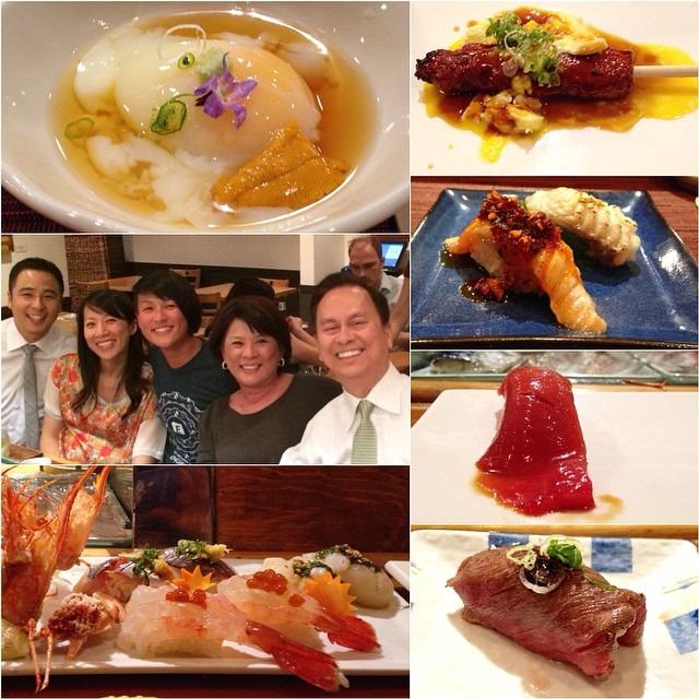 Family time, omakase: sousvide egg w/uni, tuna, amaebi w/ikura, aji, black cod, salmon toro, scallop #topchefboston #topcheflife #sushi @organizedtourist