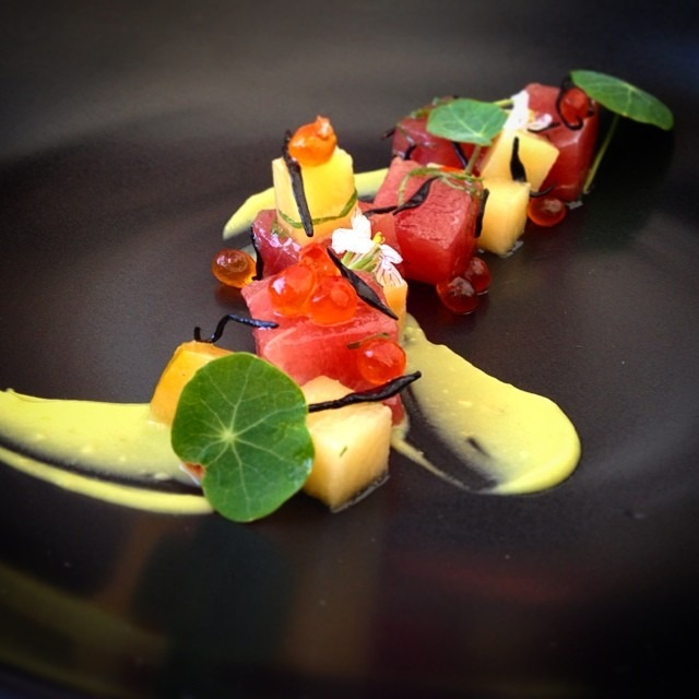 Tuna - Plum - Ikura - Avocado - Yuzu - Hikiji Seaweed - Nasturtium #crudo #raw #food #foodporn #foodgasm #theartofplating