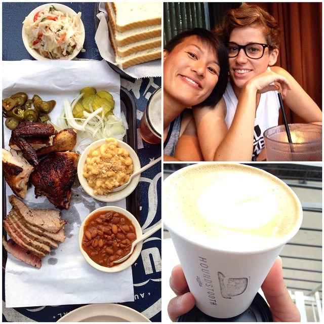 BBQ, houndstooth coffee, swimming at Barton Springs @hillarybenzell #austin (at Austin Texas Baby!)