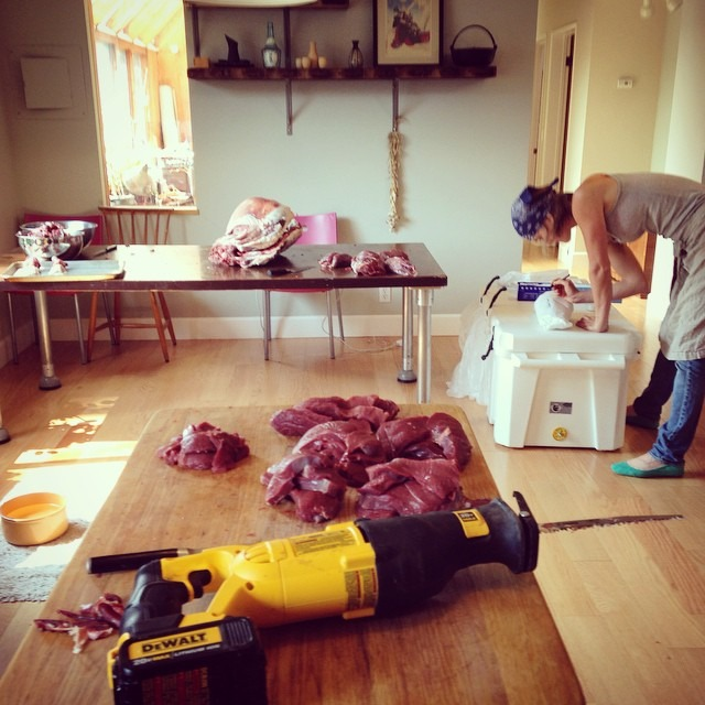 We turned the house into a butcher shop #lategram #deer #ladybutchers #chefsoninstagram #topchefboston