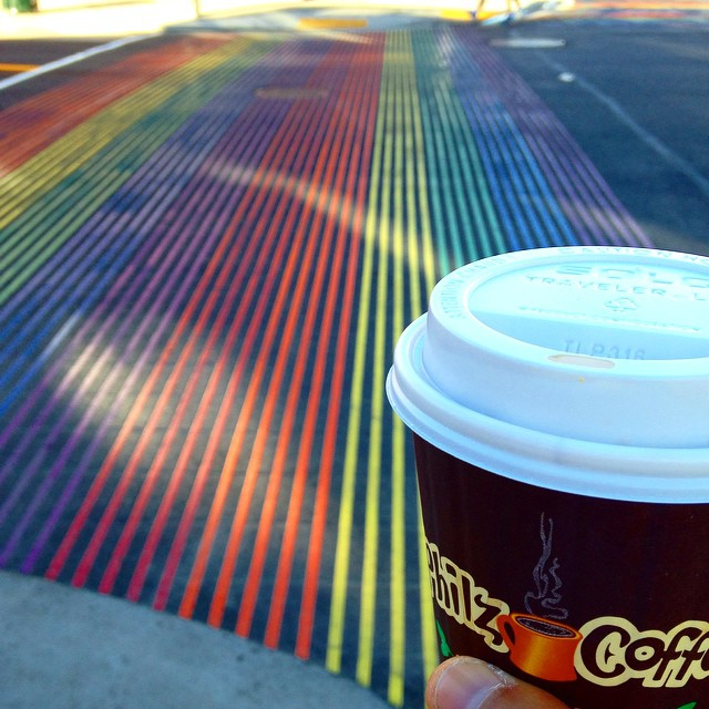 Home. #rainbowcrosswalks #sf #philz💕🏠🌈☕️ (at The Castro)