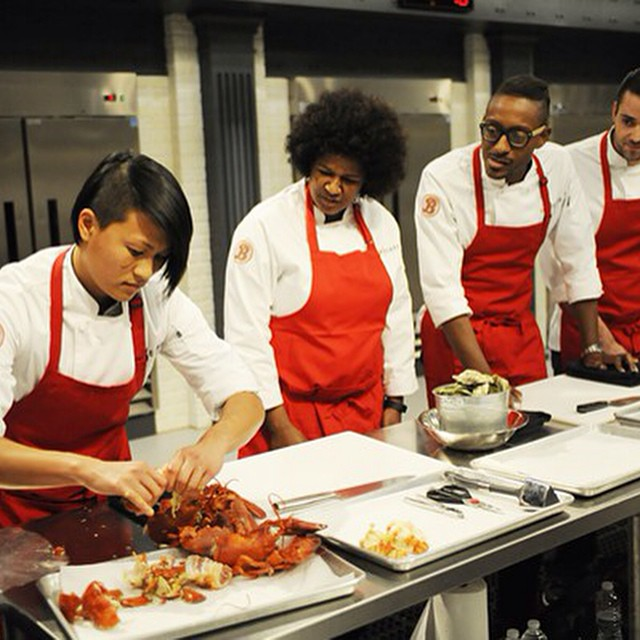 #TopChef's aren't afraid of a little lobster juice on their face ☺️ 💪Watch @bravotv 10pm to see what happens! #topchefboston #tc12 #teamMelKing