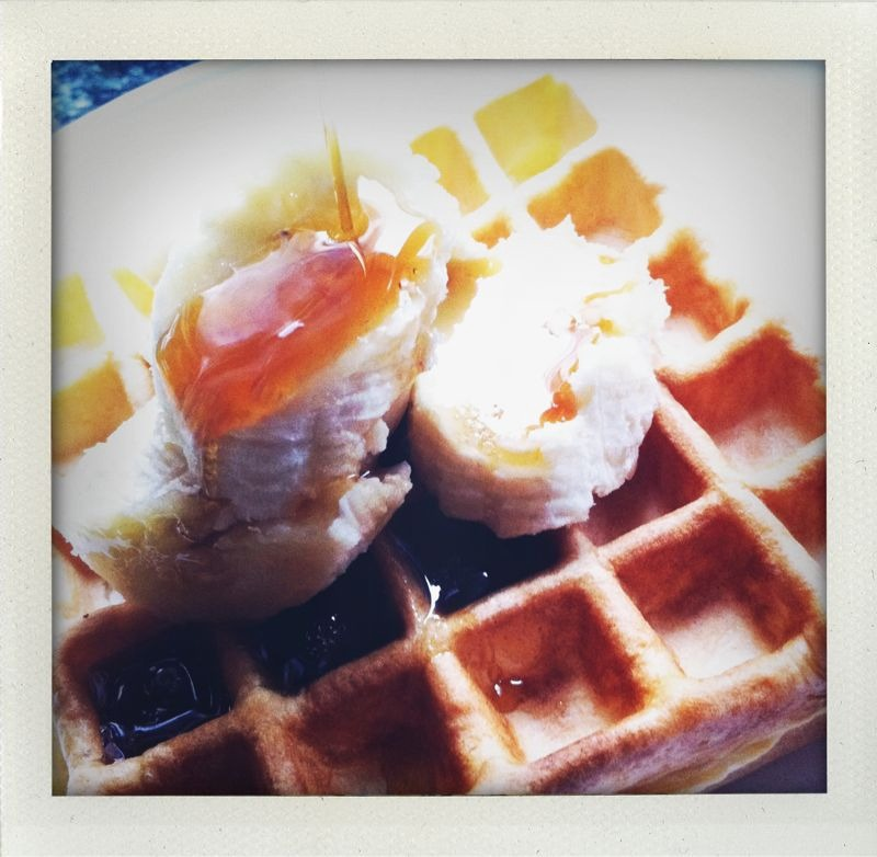 My morning attempt at waffles. Looks are deceiving. Morris, you still wear the big belt.