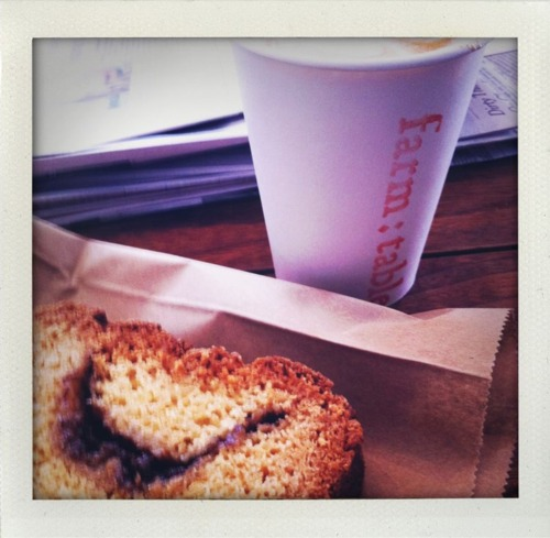 Farm:Table - nob hill, SF. such a cute place for coffee cake, a cappuccino, and the New York times.