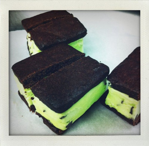 Ritz Carlton Dining Room family meal. In-house mint chocolate chip ice cream sandwiches! Pretty much the best idea ever!